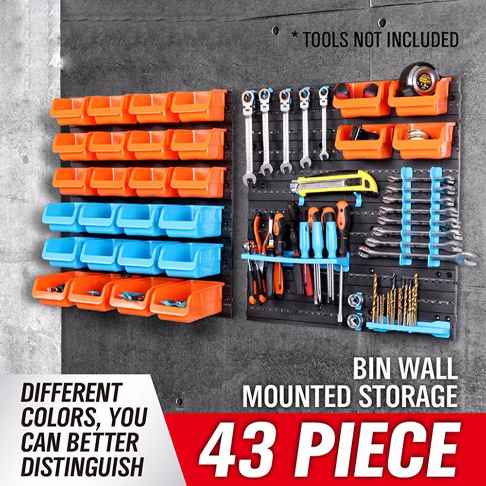 New Parts Garage Unit Shelving Organiser box Wall-Mounted Storage Bin Rack Tool Box Plastic Storage Tool AD1004<br>