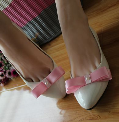 Fashion party shoe pink white bow decoration female ladies prom low heel shoes in stock quick shipping XNA 155<br><br>Aliexpress