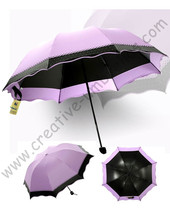 8pcs/lot colour option super light folding mini umbrella 5 times black coating Anti-UV two layers violet lace parasol(China)