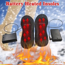 Electric Heating Insoles EVA Material Winter Feet Warm Shoes Pads Warming Black Battery Heated Insoles(China)