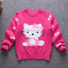 2017 Autumn Winter Brand New Children pullover Knitted girls Sweaters Kids Cartoon KT Cat clothing Baby girl Hello Kitty sweater