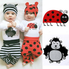Adorable Baby Clothing Set Infant Baby Boy Girl Long Sleeve Rompers Tops Long Pants Leggings Cute Casual Hats Outfit Set Clothes(China)