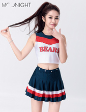 MOONIGHT Glee Style Cheerleading Costume Varsity Cheerleader Girl Uniform Costume Outfit Tops with Skirt(China)