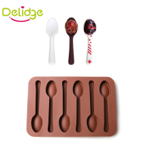 Delidge 1 pc 6 Holes Spoon Shape Chocolate Molds Silicone DIY Cake Decoration Molds Jelly Ice Baking Mould Spoon Cake Moulds(China)
