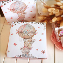 14*14*4.5cm 10pcs rabbit and fire balloon design Cheese Cake Paper Box Cookie Container gift Packaging Wedding Christmas Use