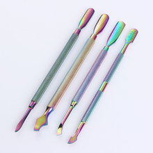BORN PRETTY Dual-ended Chameleon Nail Cuticle Pusher Remover Rainbow Stainless Steel Manicure Nail Art Tool 4 Patterns(China)
