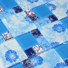 blue printed puzzle flower mosaic tiles EHGM1001A for kitchen backsplash bathroom shower mosaic tiles wall cover hallway border