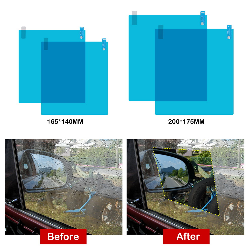 Rétroviseur Recul Voiture Film Étanche à la pluie anti-brouillard hydrophobe De Protection Autocollant 1 paire