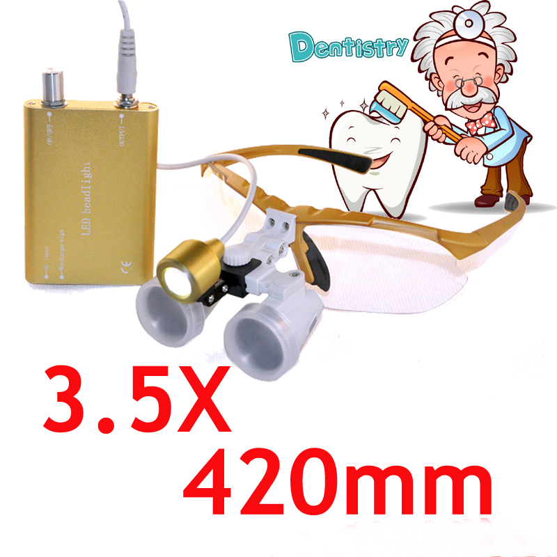 Xmas Hot Sale Yellow 3.5x420 SY-25 Dental Binocular Loupes Lab Surgical Glasses + LED Head Light Lamp New HOT SALE<br><br>Aliexpress