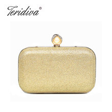 Teridiva New Arrival Fashion Ruched Women Evening Bags Diamonds Beading Metal Lady Day Clutches Purse Chain Shoulder Evening Bag(China)