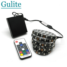 5050 RGB Battery LED Strip 5V Black PCB Decorative Light 4*AA Battery Operated With 17Key RF Controller