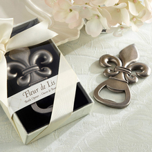 "50pcs/lot Top wedding favor supplier ""Fleur de Lis"" Pewter-Finish Bottle Opener wedding giveaways gift Free shipping(China)"