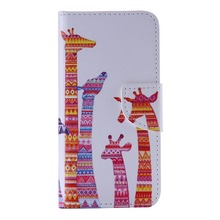 Elephant Giraffe Flip Blue Case For IPhone 7 7plus 6 6s plus 5 5S SE 4 4G 4S Case Cover PU Leather Wallet Card Slot Kickstand