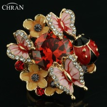 CHRAN Gold Color Ladybug Designer Zircon Jewelry Rings Wholesale Crystal Enamel Butterfly Pattern Flower Rings For Women