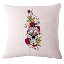 Halloween Skull Decorative Cotton Linen Pillows Cushion Cover Home Decor Cushion Case Decorative Covers for Seat Car Pillowcase