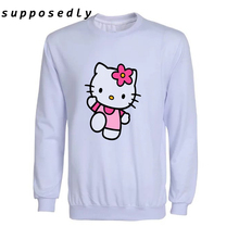 New Women Hello Kitty Printed sweatshirt round neck Women's and men's Long Sleeve Cartoon female Hoodies