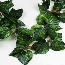 10PCS Artificial Vine Big Leaf Rhodea Ivy Vine Garland Plants Fake Plants Flowers Wedding Home Decor 7.5 feet  Artificial Ivy