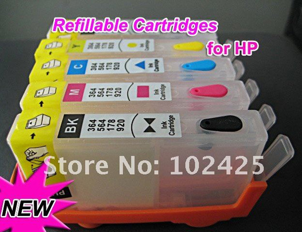 Refillable Ink Cartridges For HP 564 364 178 920 With Chips For HP Photosmart B109q B109a B109n B110a B209a 6500 7000 printer<br><br>Aliexpress