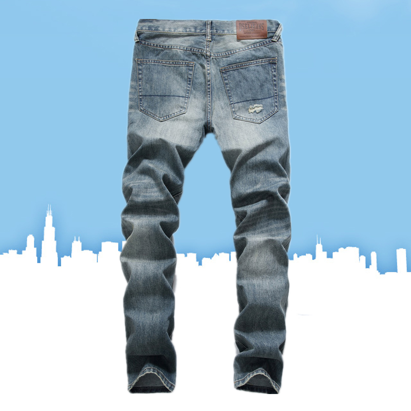 New Arrival Casual Patchwork Jeans Men Stretch Denim Pants High Quality Cotton Brand Men`s Ripped Jeans Uomo E8001