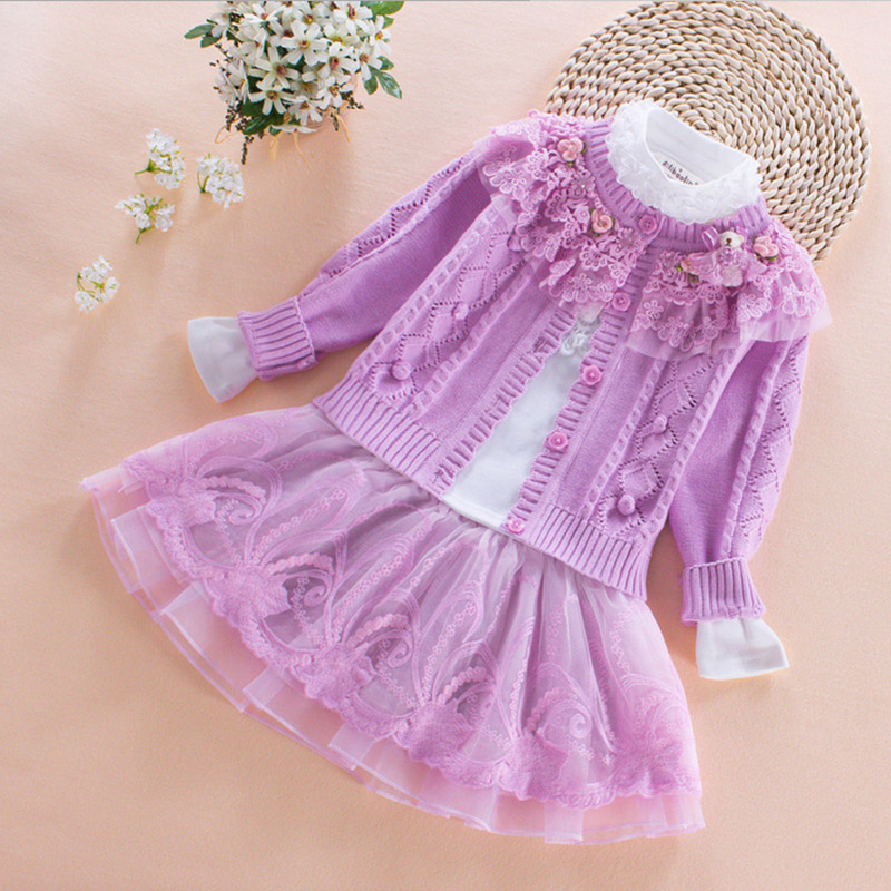 2017 kids flowers Girl Clothing Sets chiffon skirt 3pcs Princess lace spring autumn infant clothing china 2 3 4 5 6 8 years old <br>