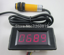 12V 4 Digit Red Counter Meter Up and Down +Infrared Proximity Photoelectric Switch Sensor NPN