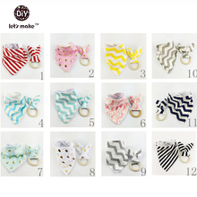Let's Make Toddler Scarf Baby Bibs 20pc 10set Bunny Ears Teether Toys Montessori Infant Teething Organic Wooden Bandana Set(China)