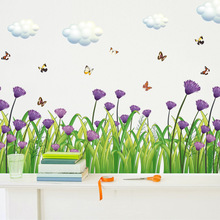 Factory Direct Wholesale Flowers Baseboard Wall Stickers Purple Cornflower Kitchen Porch Pvc Wall Stickers