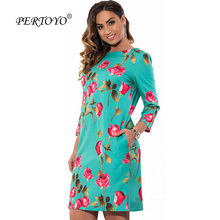 PERTOYO L-3XL 4XL 5XL 6XL Plus Size Vestidos Elegant Floral Print Casual Women Dress Big Size Autumn Cute Loose Mini Shift Dress