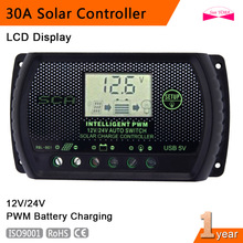 PWM 30A Solar Charge Controller 12V 24V LCD Display USB Auto Regulator Light control Solar Panel Battery Charge Regulators A391(China)