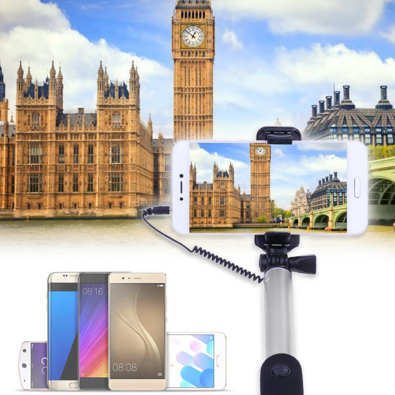Aluminium Alloy Mini Tripod Selfie Stick with Rear Mirror Wired Remote Shutter Monopod t for iPhone Samsung Android Phones