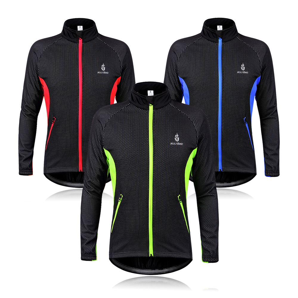 WOSAWE Men Cycling Jacket Coat Bicycle Bike Cycle Long Sleeve Jersey Clothes Winter Thermal Fleece Windproof Red Blue Green<br><br>Aliexpress