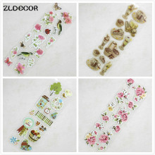 ZLDECOR Flower/Bird Spring Deocrative 3D Adhesive Stickers to DIY Gift/Photo Album /Scrapbooking Kids Craft(China)