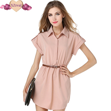 2017 Summer Women's Fashion casual solid short sleeve shirt dress large size defined waist beautiful office beach Dress vestido(China)