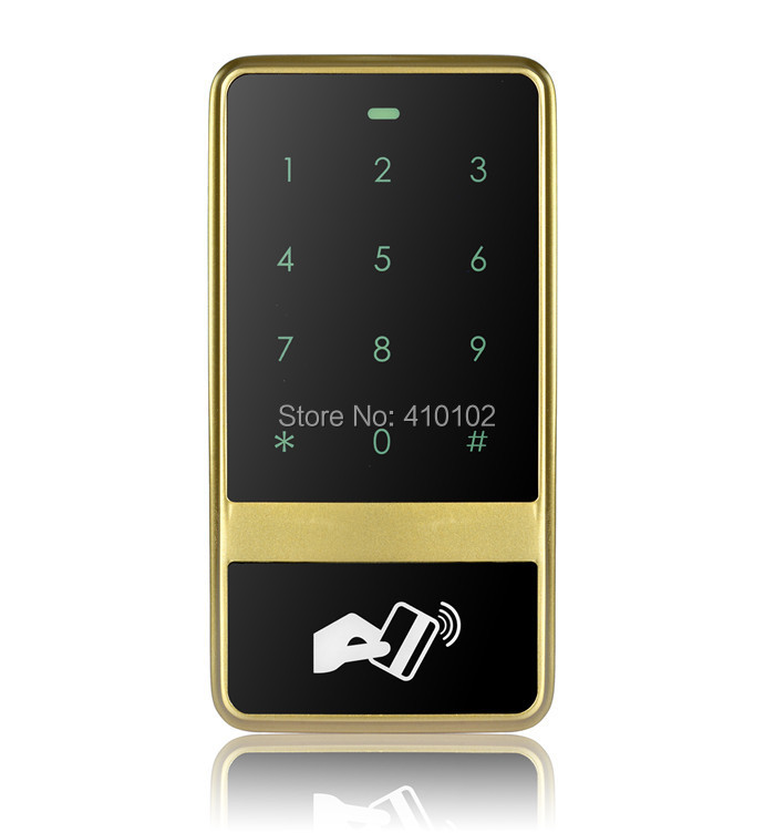 8000 Users Metal Case Touch Keypad 125KHz RFID Reader Access Controller For House / Office / Home Improvement Golden<br>