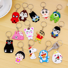 18 Styles New Fashion Super Hero Keychain Cartoon Mini Doraemon Hello Kitty Spiderman Key Ring Charms Car Pendants Gift