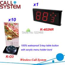 Wireless Button Calling System with 10 table buttons and 1 display receiver for restaurant service, shipping free(China)