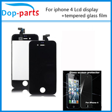Best price and Good quality Black For iPhone 4 LCD Display + Touch Screen digitizer + Frame +tempered glass film China Post Mail