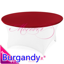 Burgandy colour Spandex table wedding cover for round tablecloth lycra top cover for wedding banquet and party decoration sale