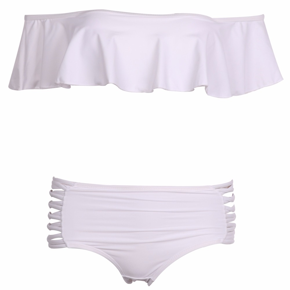 Sexy Ciało Stałe kolor Off Ramię Bikini Set Push Up bandeau bikini 2017 stroje kąpielowe strój kąpielowy Falbala kobiety wysoka talia stroje kąpielowe 14
