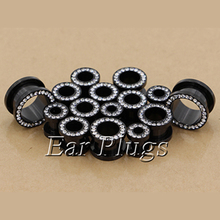 2pcs stainless steel anodized black screw flesh tunnel ear plug gauges body piercing jewelry PSP0004(China)