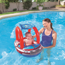 free ship Summer Hot Sale Cute Inflatable Toddler Baby Swim Ring Infant Swimming Pool Water Float Seat with Floret Sun-shading