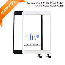 ALANGDUO Screen Replacement for iPad Mini 1 2 Touch Screen Digitizer Assembly with IC Homebutton Black White Color Front Glass