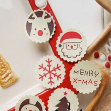 5page/lot (60pcs) Christmas stickers Santa Claus circular lace adhesive sticker Candy box gift card decoration party supplies