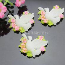 80pcs Resin floral bird peace dove Cabochons Flat Back 35x32mm cameo covers- Bobby Pins, Flower Rings, Pendants hand paint