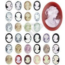 Fashion Resin B Grade Vintage Style Oval Lady Flat Back Cameo Cabochon For Jewelry Making Wholesale Fast Ship(China)