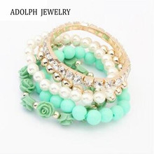 ADOLPH Jewelry 6 Colors  2014 New Fashion Crystal With Beads Flower Charm Bracelets Bangles for Women Ladies Gift