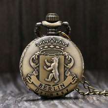 Vintage Bronze Berlin Germany Theme Quartz Small Size Pendant Pocket Watch With Necklace Sweater Chain Gift To Children Girls(China)