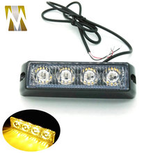 High Quality 4 LED Car Emergency Beacon Light Bar 12 Flashing Mode 4W 12V led Strobe light for Universal fit Hazard Truck(China)