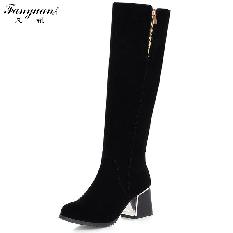 New Arrival 2017  Winter Womens Mid-Calf Boots Solid Zip Women Riding Boots Ladies  Round Toe Square Heel Mid-Calf Boots<br><br>Aliexpress