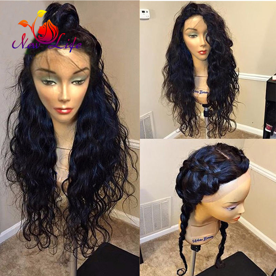 8A Water Wave Synthetic Lace Front Wig For Black Women Nautral Wave Synthetic Wigs With Baby Hair Heat Resistant Wig<br><br>Aliexpress